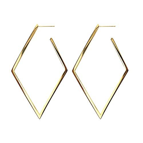 Afrodeti Pendientes de aro de oro de rombo grandes geométricos exóticos