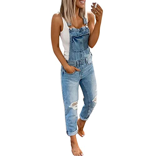 Onsoyours Mujer Vaquero Petos de Pantalones Jumpsuit Largo Verano Casual Slim Fit Stretch Skinny Harem Mono Moda Bolsillos Overol A Azul Large