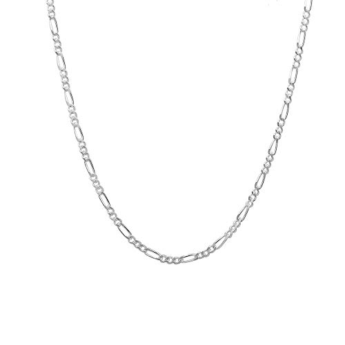 925 Sterling Silver 3MM 3.5MM, 4MM, 4.5MM Figaro Link Chain Necklace - Silver Figaro Link Necklace for Men 18-30