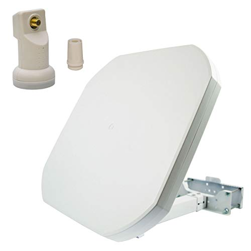 PremiumX FLAT43 Sat Flachantenne mit Single LNB - Satellitenantenne Digital...