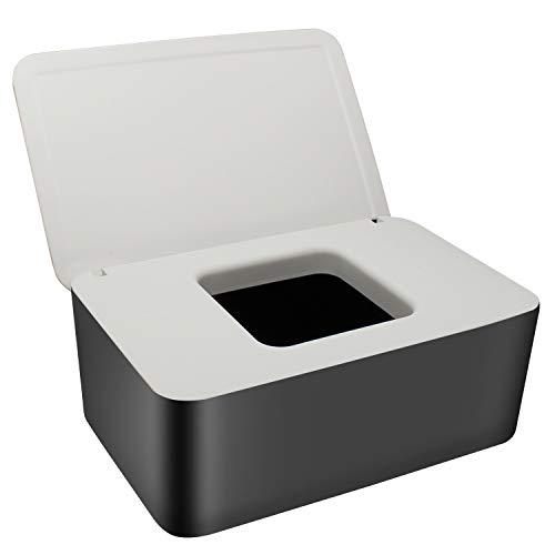 WJMY Feuchttücher Box Feuchtes Toilettenpapier Box Feuchttücherbox Baby Tücherbox Serviettenbox, Kunststoff Spender für Trockene und Nasse Seidenpapier- Schwarz und Weiß