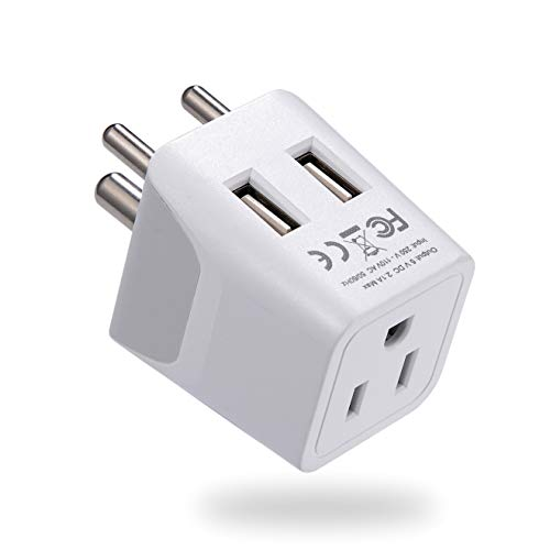 Ceptics India, Nepal, Bangladesh Travel Adapter Plug with Dual USB - Type D - Usa Input - Ultra Compact - Safe Grounded Perfect for Cell Phones, Laptops, Camera (CTU-10)