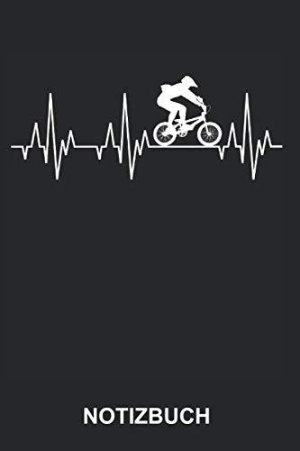 Notizbuch: Downhill Bike Freeride BMX Fahrrad Radsport Radfahrer Radfahren Fahrradfahrer Fahrradfahren Sport Lustig Witzig Herzschlag EKG   Notizbuch, ... Seiten liniert   Softcover   weißes Papier