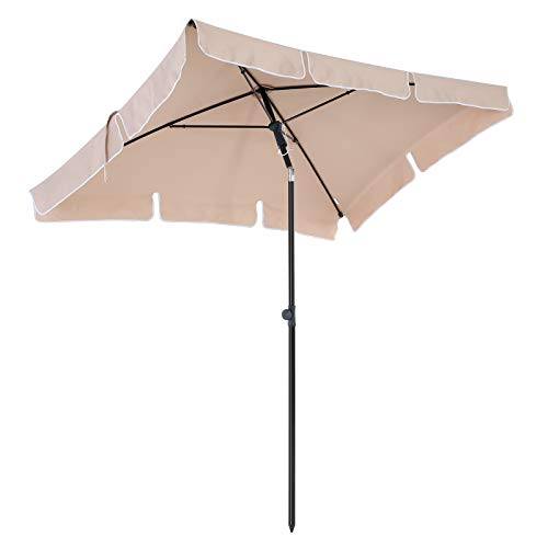 SONGMICS 200 x 125 cm Rectangular Garden Parasol, Sunshade, UV50+, Sun Protection, TiltMechanism, Polyester Canopy with Carry Bag, for Garden, Balcony, Patio, Base Not Included, Taupe GPU25BR