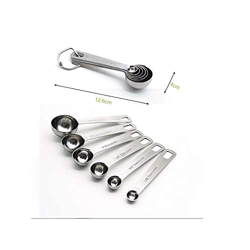 bingyu 304 cuchara de acero inoxidable 6 juegos de escala dosificadora de...