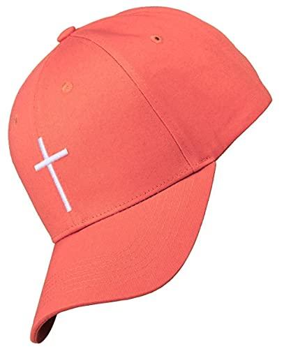 Bexxwell Baseball Cap lachsorange mit Kreuz-Stickerei (optimale Passform, Kappe, orange, lachs, Baseballcap, Cross, Basecap,Unisex)