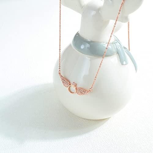 Moda estilo japonés y coreano todo fósforo decoración del artículo alas de ángel collar de anillo de diamantes joyería de color cobre buen amigo regalo regalos collar regalo de cumpleaños