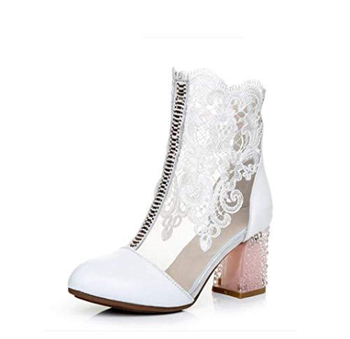 ZYT Femme Chaussures Dentelle/Cuir Nubuck Printemps/Automne Bottes À La Mode Bottes Talon Bottier Bout Rond Bottes Mi-Mollet Strass Noir,US10