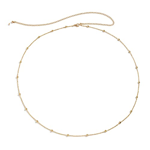 FORUBUS Trendy Waist Chain for Women Beach Bikini Body Chain, Gold Paperclip Chain Pearl Beaded Belly Chain, Sexy Cool Summer Vacation Costume Jewelry-Bead