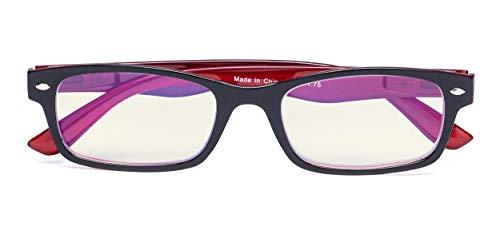 Blue Light Filter Eyeglasses,Reduce Eyestrain Readers,Anti Blue Rays,UV Protection,Computer Reading Glasses for Men Women(Black-Red) +2.25