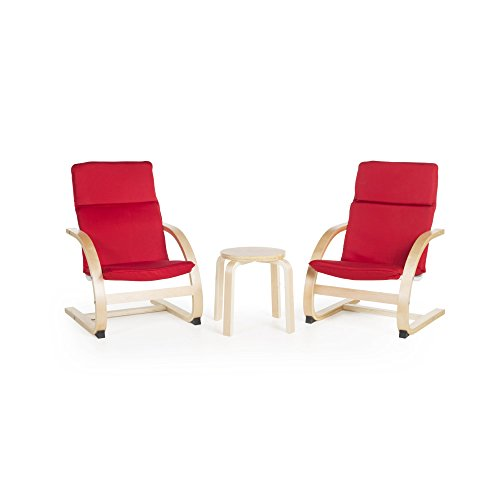 Guidecraft Kiddie Rocker Red Cushioned Chairs Set with Small Table covid 19 (Plywood Library Table coronavirus)