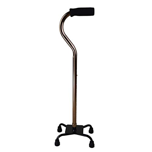 Adjustable Quad Legged Cane Walking Stick Heavy Duty for Men and Women Large Base Lightweight Soft Grip Handle 300-lbs Capacity Four Prong Sturdy Aluminum Travel Aid