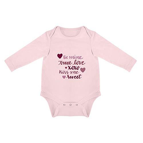 DKISEE Body à Manches Longues en Coton Doux avec Inscription « Be Mine True Love Kiss Me » pour bébé garçon et Fille - Rose - 6 Mois