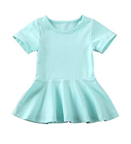 doublebabyjoy Summer Clothes Short Sleeve One-Piece Dress Ruffle Hem Short Skirt Solid Princess Dresses (Mint Green, 0-6 Months)