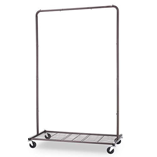 Simple Trending Industrial Pipe Clothes Garment Rack, Commercial Clothing Rolling Rack with Mesh Storage Shelf on Wheels, Bronze