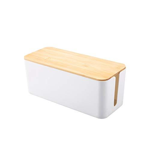 Kabelbox Holz Kabelmanagement-Box Kabelbox Kabelorganisation Kabel für maximale Sicherheit im Haushalt - Kabel Organizer zum Verstauen von Steckdosenleisten, Ladeadaptern, Routern UVM. (Weiß, S)