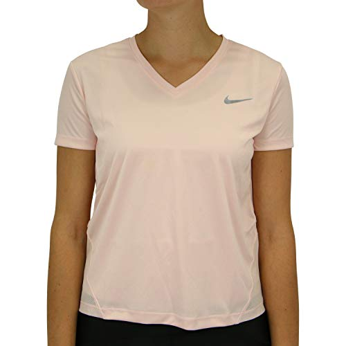 Nike Top Vneck Shortsleeve T-Shirt Femme Echo Pink/Reflective Silv FR : M (Taille Fabricant : S)