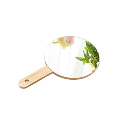 C-J-Xin Miroir en bois à main, classique Miroir à main portable Beauté Miroir rond/rectangle miroir de maquillage Hommes Miroir grossissant Miroir de maquillage (Size : 13.5 * 13.5CM)