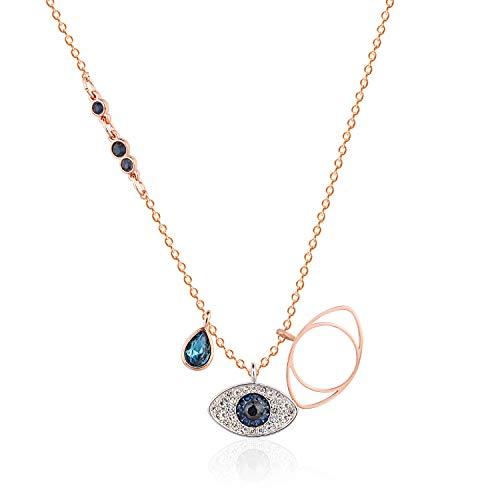 Bifriend-Silver Choker Necklace Sleek Minimalism Turkey Eye Pendant Necklace Lucky Female Devil Eye Necklace Jewellery Accessories Gift