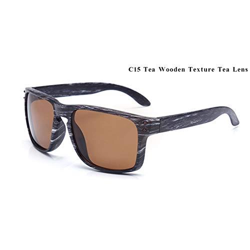 YIERJIU Gafas de Sol Gafas de Sol de Madera Hombres Espejo Cuadrado Reflectante Remache Gafas de Sol Deportivas Vintage para Hombres Mujeres oculos,C15
