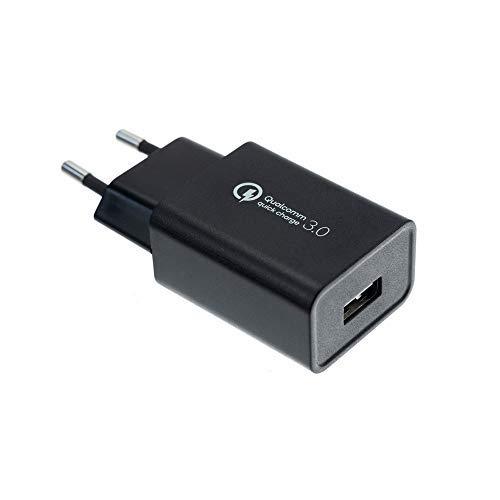 ADWITS QC 3.0 Chargeur Mural USB à Un Port (18 W), Adaptateur Secteur Intelligent de Charge Rapide pour téléphones Android Tableaux Surface Power Bank et Plus - Noir W0920E-1U05F