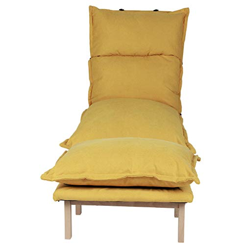 Ausla - Silla de sofá de ocio, sillón cama calefactable, silla de sofá individual, silla reclinable, silla con reposapiés extraíble y ajustable, color amarillo