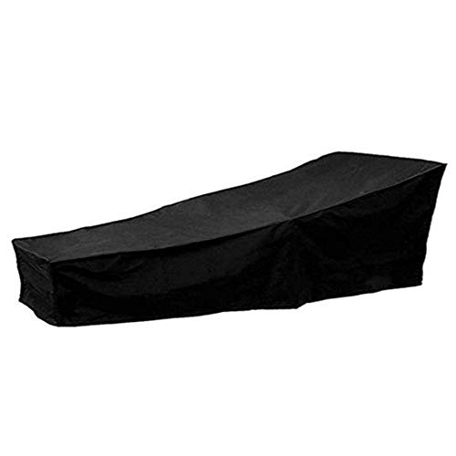 Nfudishpu Barture Garden Rotin Furniture Cover Waterproof Recliner Protective Housses Outdoor Lounger Cover, Black (Size: 210x75x80cm)