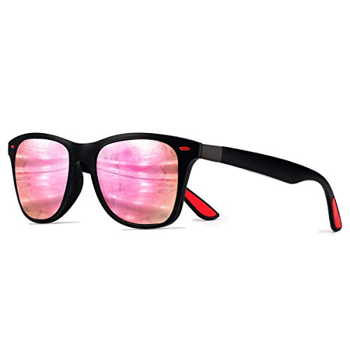 CHEREEKI Occhiali da Sole Polarizzati, Moda Occhiali da Sole Donna e Uomo UV400 Protezione (Rosa/Nero)