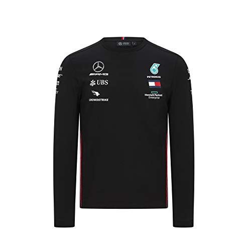 Mercedes-AMG Petronas T-Shirt, langärmlig, Motorsport, Team F1 Formula Driver Gr. S, Schwarz