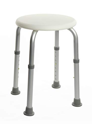 OrtoPrime Douchekruk, rond, antislip, voor gehandicapten, orthopedische stoel voor senioren, in hoogte verstelbaar, gewicht 136 kg