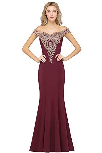 MisShow Gold Lace Applique Rhinestone Formal Bridesmaid Mermaid Dress Burgundy 8