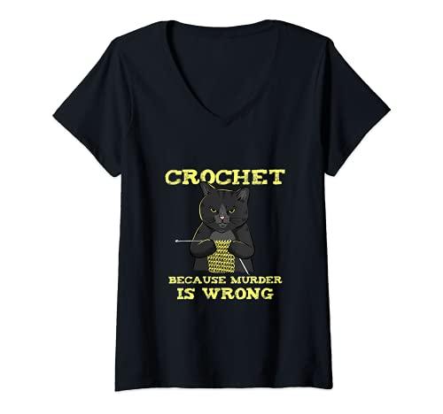 Mujer Crochet porque el asesinato es incorrecto Camiseta Cuello V