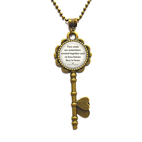 Two Souls are Sometimes Created Together - Collar de llave con cita en amor, regalo de aniversario, regalo de San Valentín, N291