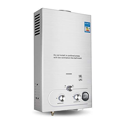Pevor Sofort-Durchlauferhitzer, 18L, 36KW, ohne Tank, Wasser, Bolier, Propan-Gas-Wassererhitzer, Sofort-Warmwasserbereiter, mit Duschkits