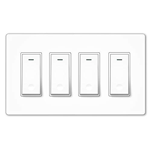 MOES WiFi Smart Light Switch,4 Gang No Screw Panel Smartlife/Tuya App Wireless Remote Control In-Wall Switch Timer for Lights,Compatible with Alexa,Google Home,No Hub required