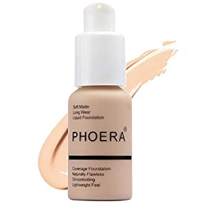 Matte Oil Control Concealer Foundation Cream,PHOERA New 30ml Long Lasting Waterproof Matte Liquid Foundation (102 Nude)