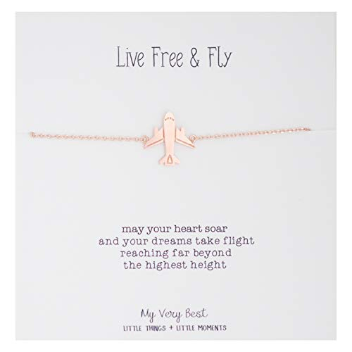 My Very Best Live Free and Fly Airplane Bracelet (Rose Gold Plated Brass)