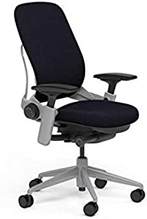 Steelcase Leap Desk Chair in Black Fabric - Highly Adjustable Arms - Platinum Frame and Base - Open Box -