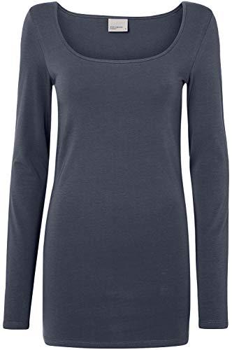 Preisvergleich Produktbild VERO MODA Damen VMMAXI My LS Soft Long U-Neck GA NOOS Langarmshirt,  Blau (Ombre Blue Ombre Blue)