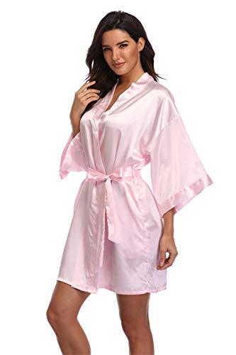 Women's Short Satin Kimono Bride Bridesmaid Wedding Robes Dressing Gown,Pink