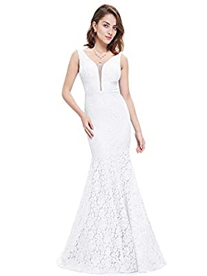 Ever-Pretty Womens Sexy Double V-Neck Sheer Bust Long Lace Beach Wedding Dress 8 US White