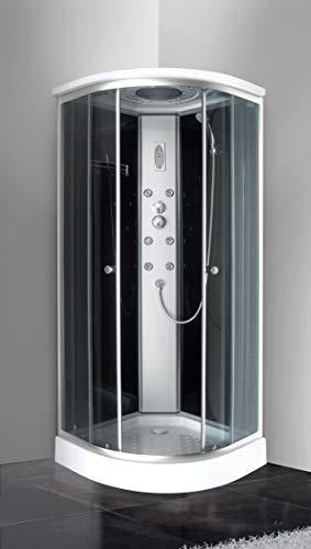 Bagno Italia Cabina Idromassaggio 80x80 cm Box con piatto doccia vetri temperati fumè cromoterapia I