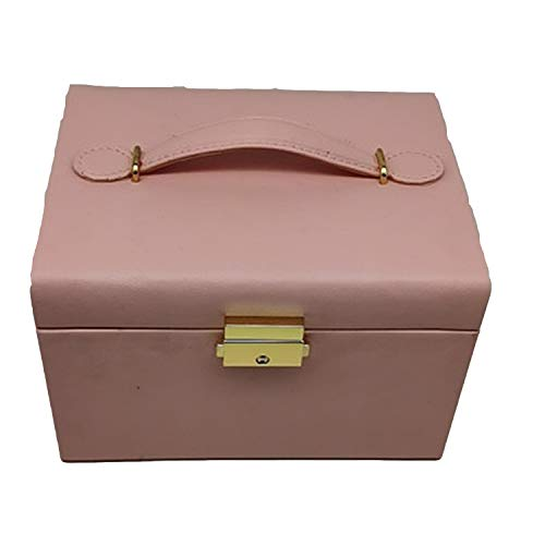 Redsheep Joyero de cuero de gama alta para joyas con cajón, pendientes y pendientes, caja de almacenamiento, caja de almacenamiento, caja de anillos, color rosa, 18,5 x 15,5 x 12,5 cm