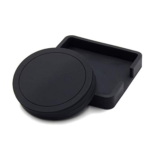 Schwarz Untersetzer, Rundes Silikon-Gummi-Tassenpolster mit 6-teiliges Set Tablett für Kaffee und Bier