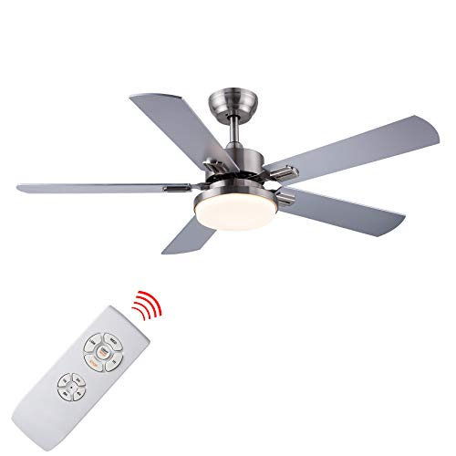 SNJ 52 Inch Ceiling Fan with Lights and Remote Control for Living Room Bedroom Dining Room,Brushed Nickel(5 Blades)