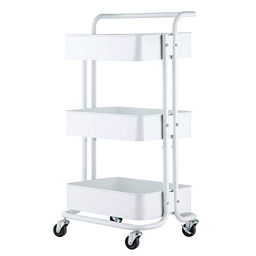 3-Tier Rolling Utility Cart Multifunction Storage Utility Carts Heavy Duty Organization for Home Kitchen Office Coffee Bar Bathroom with Handles and Roller Wheels Craft Metal&ABS (White)