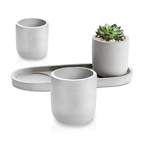 Greyoe Vasi per Piante, Vasi da Fiori in Cemento, Set di 3 Vasi da Fiori Rotondi con Vassoio per Piante Succulente di Cactus da Interno ed Esterno