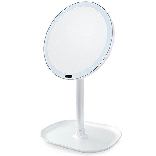 LED Miroir De Maquillage Miroir De Table Miroir De Vanité 360 Degrés Réglable Lampe Rotatif Miroir Cosmétique Make Up Outil,White