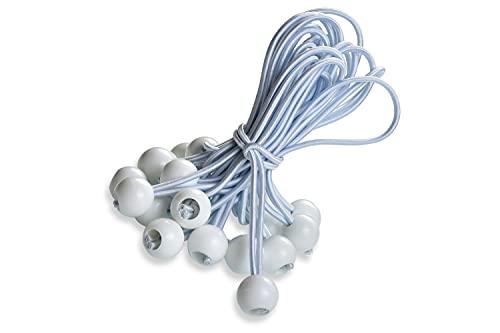 fuxton 25 Professionale Tenditori con sfera (bianco 195 mm) per tende, teloni, manifesti. tenditelone, imbracature ad espansione, porta teloni, teloni in gomma, tenditelone in gomma, lacci per tenda