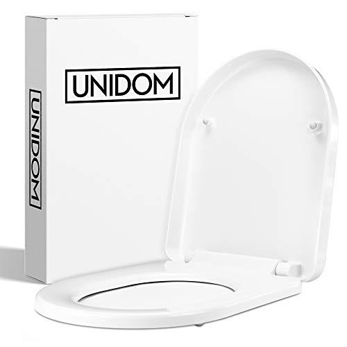 UNIDOM Hochwertiger WC-Sitz mit Absenkautomatik   D-Form Toilettendeckel in Weiß aus Duroplast - Antibakteriell   Klodeckel - Abnehmbar mit Soft-Close Automatik inkl. Edelstahl Halterung (D-Form)